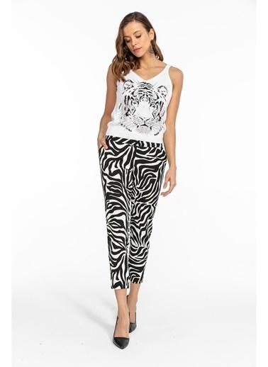 Tiffany&Tomato Zebra Desen Cepli Pantolon-Siyah Siyah